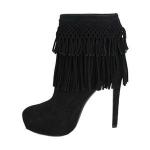 7c2401e29fc4 DIOR Black Platform FRINGE Stiletto Boots 40 new
